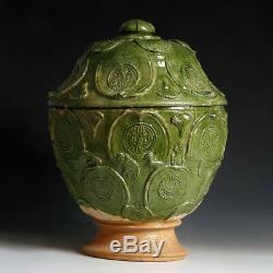 Grand Yuan Vert Glacé Pot À Couvercle