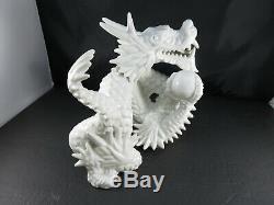 Grand Zodiac Porcelaine Céramique Blanc Chinoise Année Loong Dragon Ball Statue 10