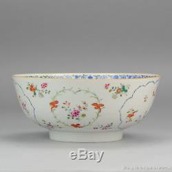 Grande 18c Chinoise En Porcelaine Famille Rose Bowl Fleur Antique Cartouches