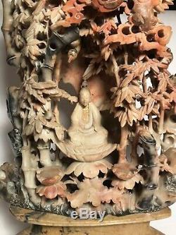 Grande 19ème / 20ème C. Chinois Qing Stéatite Bouddha Sculpture Avec Bamboo & Support, 18