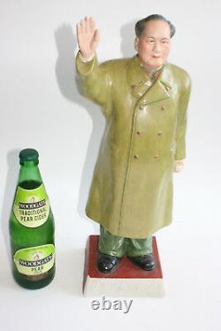 Grande 20ème C Années 1950 Porcelaine Sculptée Peint Président Mao Figure Statue
