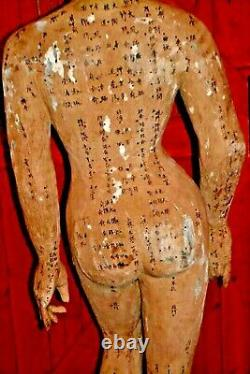 Grande (5ft) 19th Century Carved Wood/painted Chinese Acupuncture Statue, Vers 1890