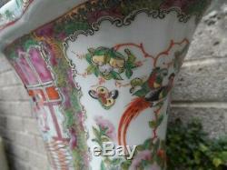 Grande Antique Porcelaine Chinoise Planteur Rose Période Mandarin Peint République