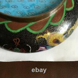 Grande Antiquité Chinoise Cloisonne Bowl On Stand. C 1900 Wlde Bol Peu Profond