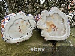 Grande Antiquité De Porcelaine Imari Chats 14.5 Inches Tall