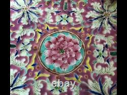 Grande Authentique 19ème C. Antique Porcelaine Chinoise Famille Rose Bowl Qing Dynasty