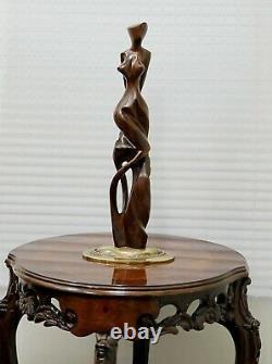 Grande Belle Sculpture Abstraite Nue D'art Sur Le Concepteur De Base D'or Signée R&g 18