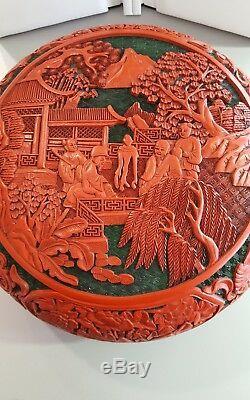 Grande Boîte De Présentation En Cinabre Chinois Antique Sculpté