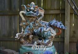 Grande Céramique Chinoise Antique / Pottery Roof Tile Foo Dog Lion
