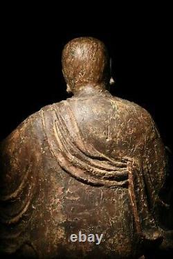 Grande Chanson Chinoise Antique À La Figure De Bouddha En Bois De Dynastie De Ming De Bodhidharma