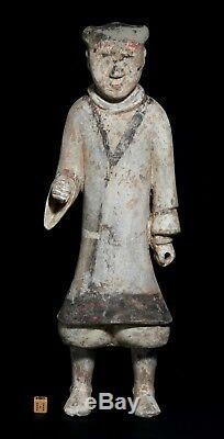 Grande Dynastie Des Han, Garde Chinoise En Terre Cuite Ancienne