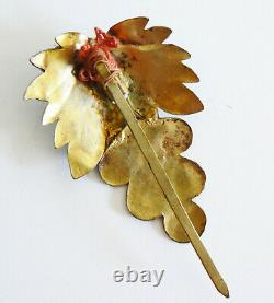 Grande Dynastie Qing Kingfisher Plume Cheveux Pin Corail Chinois Tian-tsui