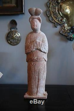 Grande Dynastie Tang Fat Lady Figure Chinoise Peinte Poterie