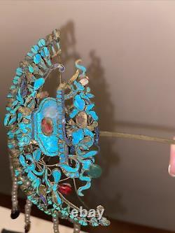 Grande Épingle À Cheveux Antique Chinoise De Plume De Martin-pêcheur 8