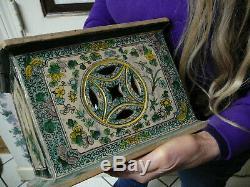 Grande Et Rare Porcelaine Chinoise Période Kangxi Wucai Socle Support 18 19thc