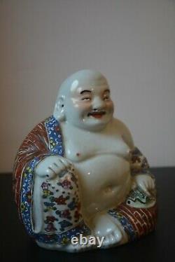 Grande Famille Antique Rose Riant Bouddha De Porcelaine Marqué
