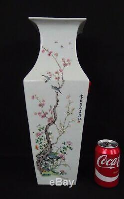 Grande Famille Chinoise Antique Rose Oiseaux Vase En Porcelaine Carré 19ème Calligraphie
