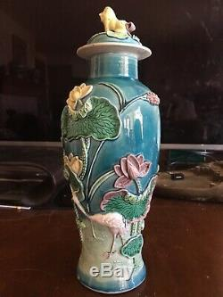 Grande Fin 19ème C. Antique Chinese Porcelain Vase Signé