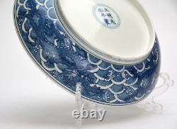 Grande Fin Superbe Chinois Bleu Et Blanc En Porcelaine De Dragon Plate