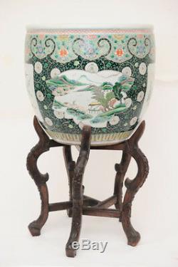 Grande Jardinière Chinoise Ancienne, Famille Verte, 20 Dia, Dynastie Qing