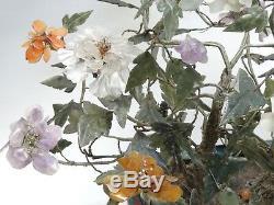 Grande Jardiniere Cloisonne Chinoise Antique Qing Avec Arbre A Fleurs En Jade 20x17 H Max.
