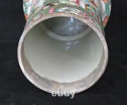 Grande Lampe À Huile Antique Chinoise De Canton De Porcelaine, Mandarine De Rose De Famille, 19ème C