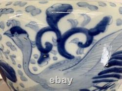 Grande Main Peinte En Bleu Et Blanc Chinois Bol Jardiniere 20ème Siècle