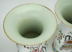 Grande Paire Antique Chinoise Famille Rose Porcelaine Gu Vase 19ème C Qing / République