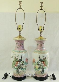 Grande Paire Antique / Vtg Asiatique Chinois 35 Famille Rose Vase Paon Lampes De Table