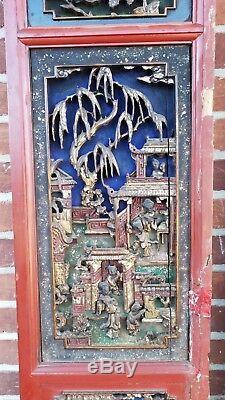 Grande Paire De Panneaux Antique Portes Chinois Avec Les Figures Sculpté À La Main