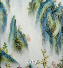 Grande Paire De Peinture Chinoise Paysage Porcelaine Mural Suspendu Plaque Marquée