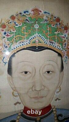 Grande Peinture Ancestrale Antique Chinoise D'aquarelle Du Monarque De Dynastie De Qing CIXI