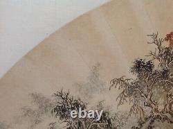 Grande Peinture Chinoise Antique / De Brosse De Cru Sur Le Ventilateur De Papier Signé