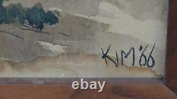Grande Peinture Chinoise D'aquarelle Sur La Soie Signée Kim'66landscape Scène, Encadrée