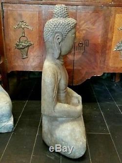 Grande Pierre Sculptée Chinois Bouddha Assis Statue 24 1/4 ' ' Hauteur