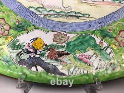 Grande Plaque Antique Chinoise De Médaillon De Canton D'émail Famille Verte Rose