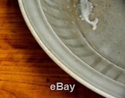 Grande Plaque Antique En Porcelaine Moulée Poisson Ming Longquan Chinois Celadon Glaçure