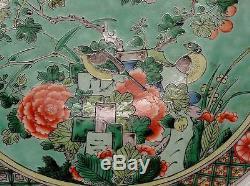 Grande Plaque Chinoise De La Famille Verte Du Xixe Siècle