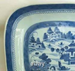 Grande Plaque De Paysage Du 19ème Siècle Antique Chinoise Carrée Bleue Et Blanche