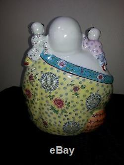 Grande Porcelaine Chinoise Famille Rose Bouddha Enfants Vintage