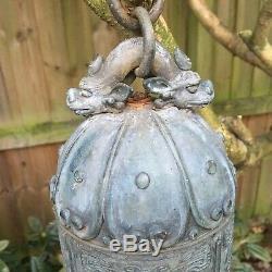 Grande Prière Antique Bronze Chinois De Bell Avec Versets