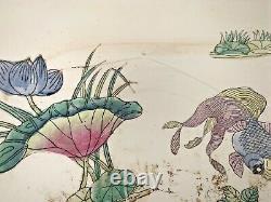 Grande République Chinoise Période Famille Rose Fish Bowl Planter Tabac Peacock