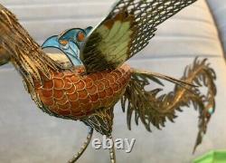 Grande Statue Antique Chinoise D'oiseau D'argent Éameled D'exportation 10 Antiques