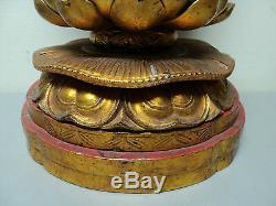 Grande Statue De Bouddha Décoré De Main En Bois Sculpté Chinois Antique Et Doré
