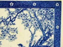 Grande Tuile Japonaise De Plaque De Plaque De Mur De Porcelaine Du 19ème Siècle -décorée À La Main Et Signée