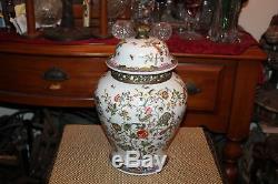 Jarre Épices Porcelaine Lidded Vase Chinois Oiseaux Papillons Marked Bas