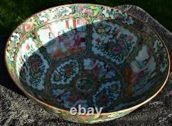 Large 37cm Antique Chinois 19e C Canton Famille Rose Punch Bowl
