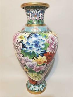 Large Antique Vase Cloisonné À L'exportation Chinoise Vintage Art Floral
