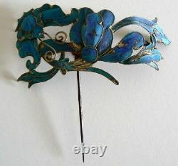 Large Qing Dynasty Kingfisher Plume Épingle Cheveux Antique Vintage Chinois