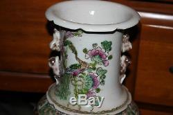 Les Grands Chinois En Céramique Oiseaux Peints Vase Fleurs-signés Bas-detailed- # 1